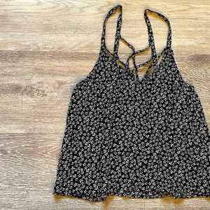 Garage Black and White Flowy Flower Tank Top Small